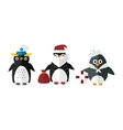 Penguin sailor santa animal character vector image vector image
