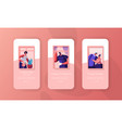 people at home mobile app page onboard screen set vector image vector image