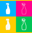 plastic bottle for cleaning four styles of icon vector image vector image