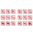 prohibition sign set - no smoke no dogs no phone vector image vector image