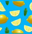 realistic detailed 3d whole lemon and slices vector image