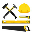 set of repair construction tools worker kit in vector image