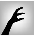Silhouette woman hand Letter E vector image