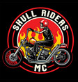 skull with chopper motorcycles vector image