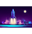 space shuttle night launching cartoon vector image