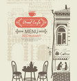 street cafe menu with table for two in an old town vector image vector image