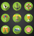 Summer Sea Travel Weekend Trip Flat icon set vector image vector image
