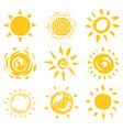 sun set brush strokes rays collection on white vector image vector image