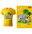 t-shirt design with african cartoon animals vector image