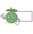 thumbs up with board guava character cartoon style vector image vector image