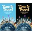 trip to world travel landmarks on globe vector image vector image