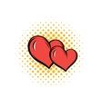 Two hearts comics icon vector image vector image