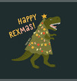 tyrannosaurus christmas tree rex card dinosaur vector image vector image