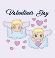 valentine day card with cupids vector image