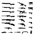 Weapon silhouette set vector image vector image