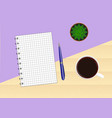 wooden table with a purple background with a vector image