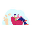 young smiling male character sitting on armchair vector image vector image