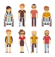 Disabled persons flat icons vector image