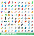 100 website icons set isometric 3d style vector image vector image