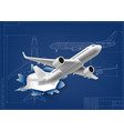 3d aircraft fly through hole in airplane blueprint vector image vector image