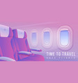 airplane windows banner aircraft interior travel vector image vector image