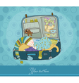 baby boy sleeping in suitcase arrival card vector image