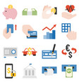 bank products and financial service icons set vector image vector image