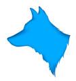 blue dog paper cut vector image