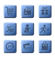 Blue Shopping Icons Set vector image