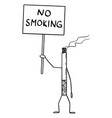 burning cigarette cartoon character holding no vector image vector image
