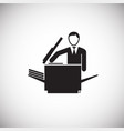 businessman making a copy on white background vector image vector image