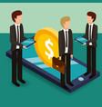 businessmen holding briefcase tablets and vector image vector image