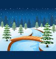 cartoon winter landscape wi vector image