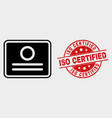 certificate icon and distress iso certified vector image vector image