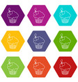 cherry cupcake icons set 9 vector image vector image