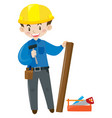 construction worker with toolbox vector image