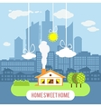Country house with big industrial city on the vector image vector image