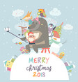 cute animals with santa claus take a selfie vector image