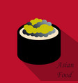 cute roll character with caviar ikura gunkan vector image