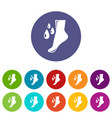 foot care icons set color vector image