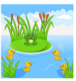 frog and four little cute ducklings in the river vector image vector image