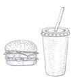 hamburger and cola drink hand drawn sketch vector image vector image