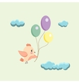 image of a bird with balloons vector image vector image