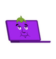 laptop eggplant emoji face avatar computer purple vector image