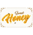 lettering with honeycomb patten vector image vector image