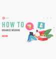 marriage event organization plan landing page vector image vector image