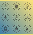 person icons line style set with lover walking vector image vector image