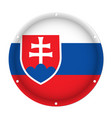 round metallic flag of slovakia with screw holes vector image vector image