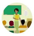 round of teacher in class vector image