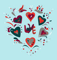round pattern with hand drawn for valentines day vector image vector image